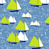 Racing gaff-rigged skiffs, green on gray-blue