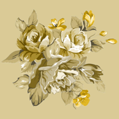 Old Cream and Gold Roses
