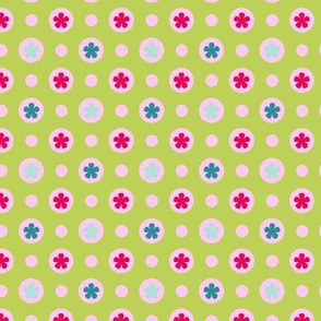Ditsy dotty flowers green