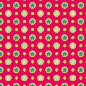 Ditsy dotty flowers red