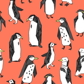 Huddle of Penguins - Carrot Orange by Andrea Lauren