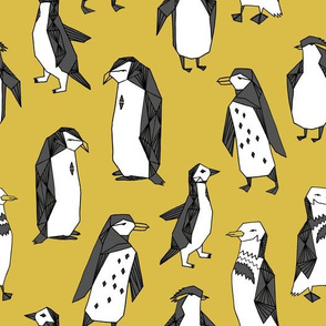 Huddle of Penguins - Mustard by Andrea Lauren