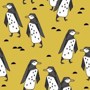 Penguins - Mustard by Andrea Lauren