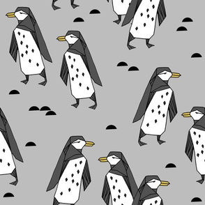 penguins // grey penguin antarctic bird birds winter