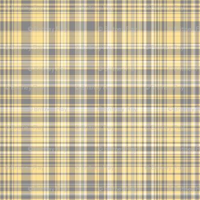 Gray Amp Yellow Plaid Fabric Pond Ripple Spoonflower