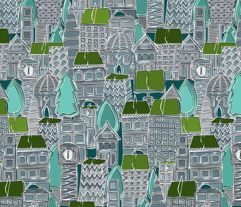 rooftop tennis fabric by scrummy on Spoonflower - custom fabric