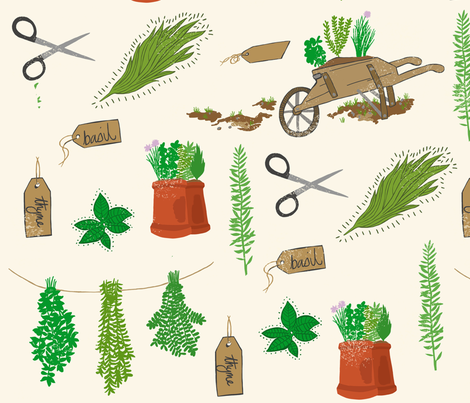 herb garden fabric by elliewooldridge on Spoonflower - custom fabric