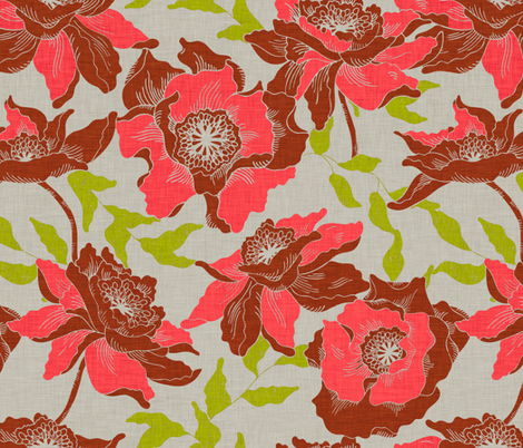 vintage_poppy_orange fabric by holli_zollinger on Spoonflower - custom fabric