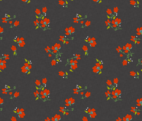 vintage_floral_dark fabric by holli_zollinger on Spoonflower - custom fabric