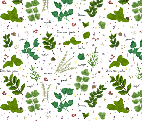 Dans mon jardin fabric by made_in_shina on Spoonflower - custom fabric
