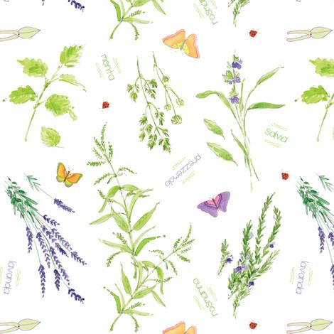 Erbe di Giardino - White fabric by studioalex on Spoonflower - custom fabric