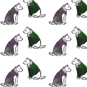 mr & ms dog green coat purple dress