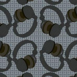 black headphones on grey