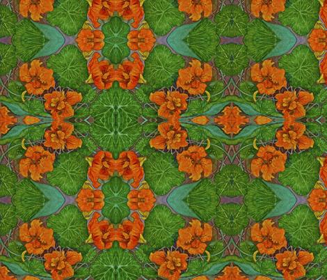 Orange Nasturtium fabric by rainjule on Spoonflower - custom fabric
