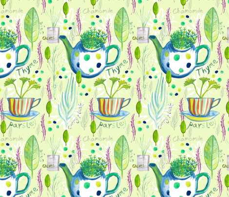 A Handful of Herbs fabric by slumbermonkey on Spoonflower - custom fabric