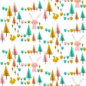 Retro bunny rabbit and trees