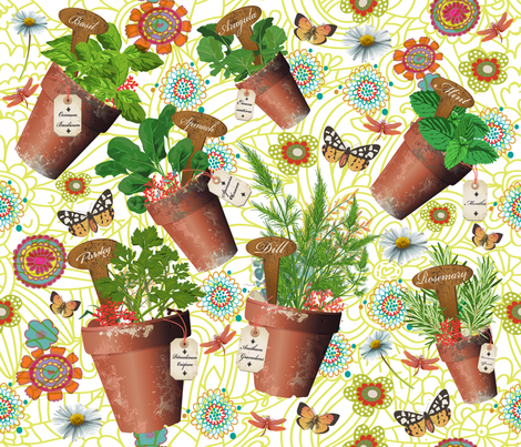 Mon Petit Jardin d Herbes Aromatiques fabric by deeniespoonflower on Spoonflower - custom fabric