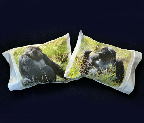 three GORILLA pillowcases