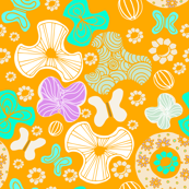 Abstract Florals Ditsy Tangerine
