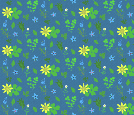 herb toss dark blue fabric by mophead on Spoonflower - custom fabric
