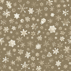 photographic snowflakes on brown
