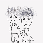 line drawing of couple on natural background