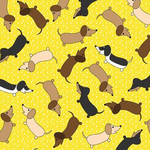 Dancing Dachshunds (Yellow)