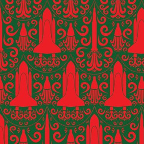 Rocket Science Damask (Red and Forest Green)