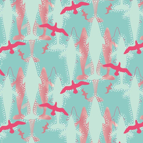 Whales and Seabirds on Teal