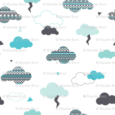 geometric pastel aztec blue sky clouds thunder pattern