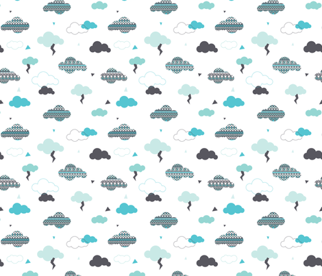 geometric pastel aztec blue sky clouds thunder pattern fabric by littlesmilemakers on Spoonflower - custom fabric