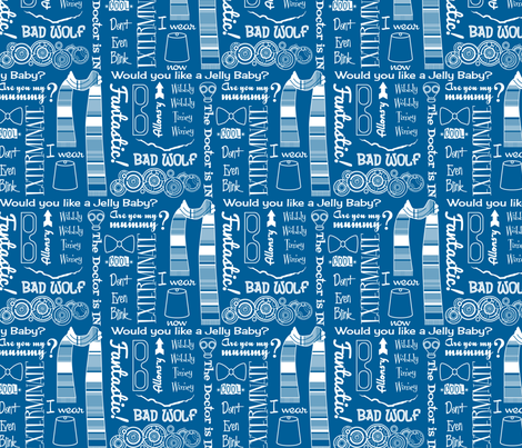 Retro 50s Kitsch White on Blue - Large fabric by risarocksit on Spoonflower - custom fabric