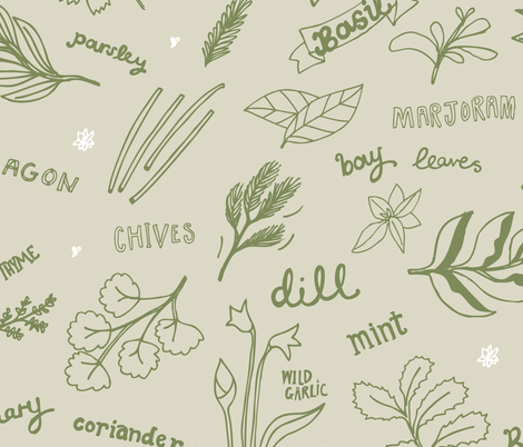 Herbs to sow and grow fabric by mellybee on Spoonflower - custom fabric