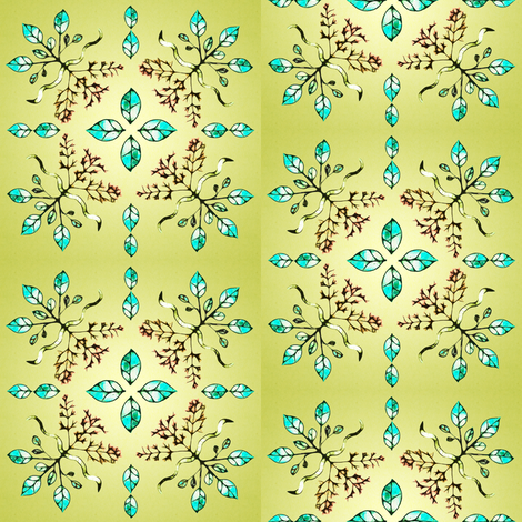 roots and leaves green fabric by spontaneouscombustion on Spoonflower - custom fabric