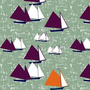 Racing gaff-rigged skiffs, purple and orange on sea-green