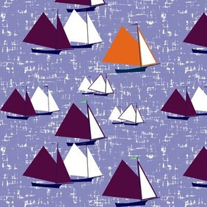 Racing gaff-rigged skiffs, purple and orange on twilight seas