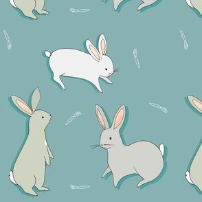 bunny rabbits - blue + grey