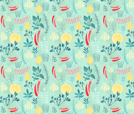 Herbs fabric by redcheeksfactory on Spoonflower - custom fabric