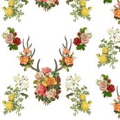 Vintage Floral Deer Antlers