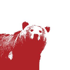 Large Bear Crib Sheet // Red