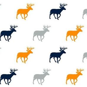 Multi Deer (small scale) // Great Outdoors // Navy-Grey-Orange