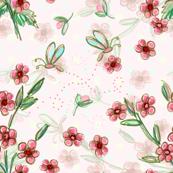 Hanky floral print - pink
