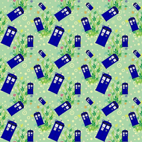 Police Box Green Floral 11