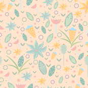 Cute seamless pattern of flowers and leaves