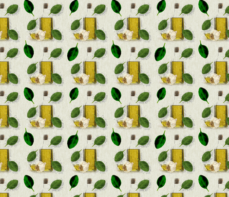 Rustic Herb Basil Leaf Garlic Olive Oil fabric by ohsofabfabrics on Spoonflower - custom fabric
