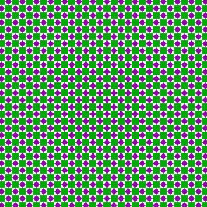 Tiny Squares and Diamonds   -Green and Purple on White