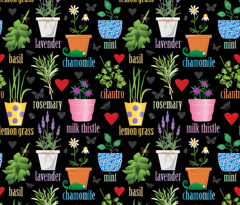 Colorful Herb Garden fabric by lisakubenez on Spoonflower - custom fabric
