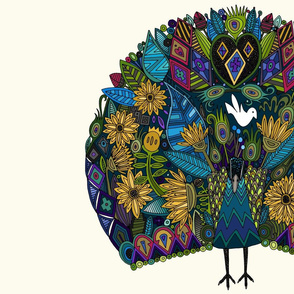 peacock garden fat quarter panel