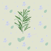 Elegant seamless pattern with herbs and flowers
