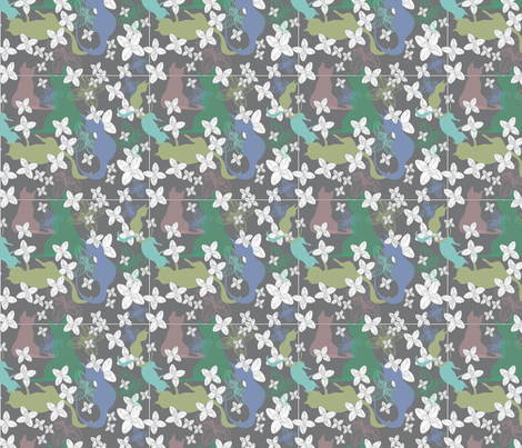 Cats playing in the Catmint shadow fabric by colour_angel on Spoonflower - custom fabric